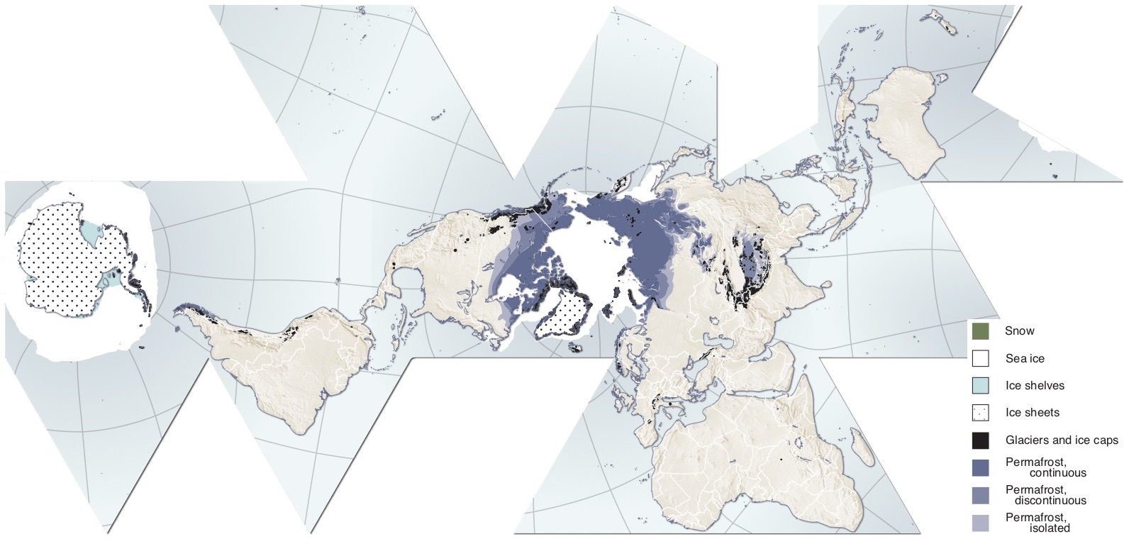 Map of Earth's cryosphere regions: snow, sea ice, ice shelves, ice sheets, glaciers, ice caps, and permafrost.